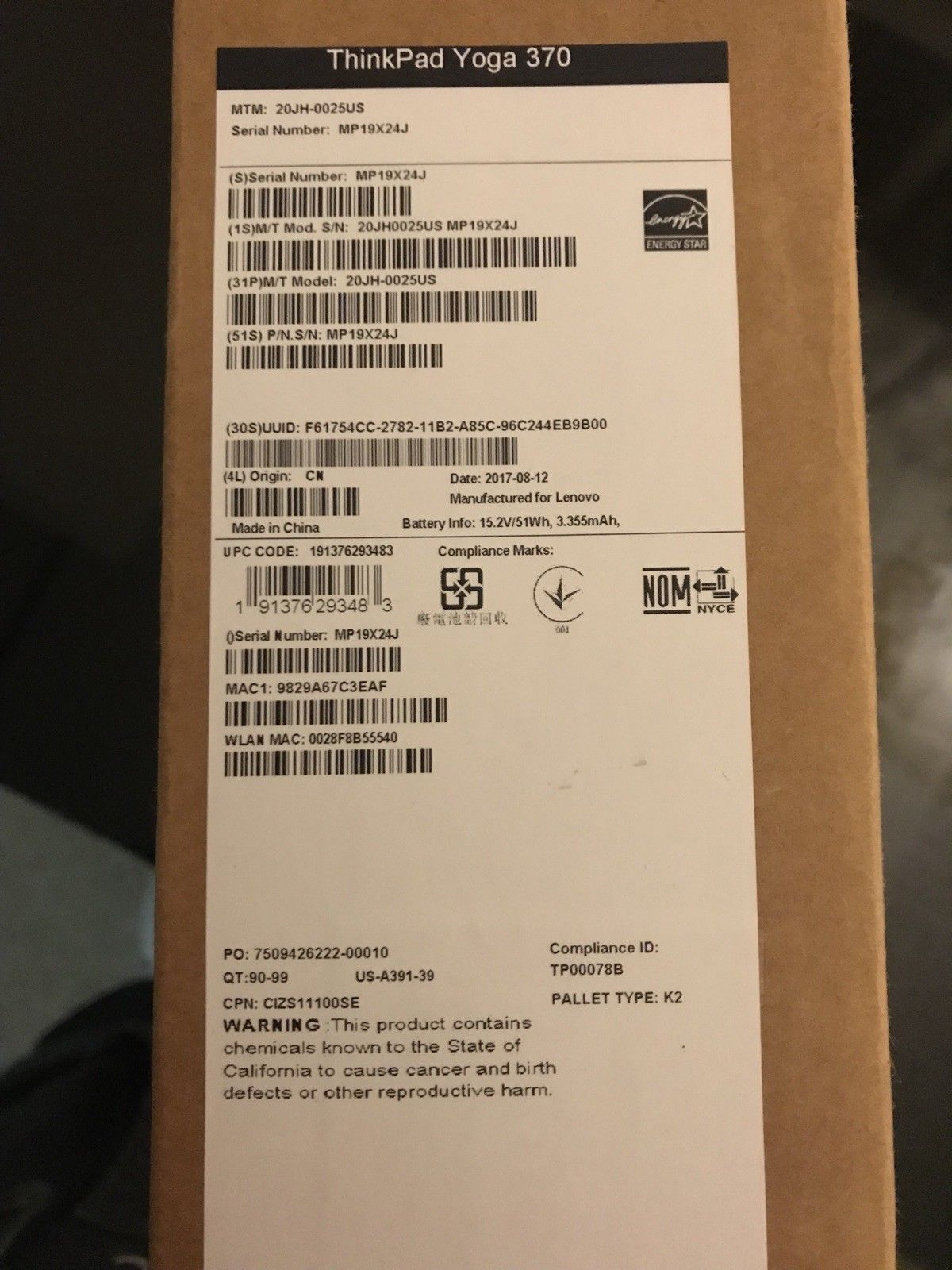 Brand New Lenovo ThinkPad Yoga 370 20JH0027US 2 in 1 Notebook $650